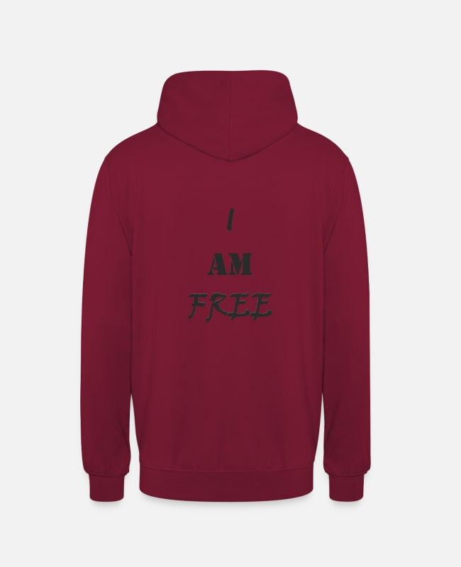 Quote Hoodies & Sweatshirts - I am free (black) / I am free (black) - Unisex Hoodie bordeaux