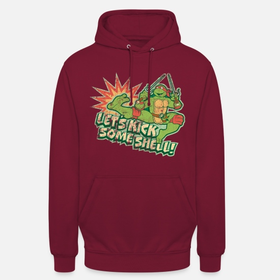 Tmnt Felpe - TMNT Turtles Raphael Let's Kick Some Shell - Hoodie unisex rosso bordeaux