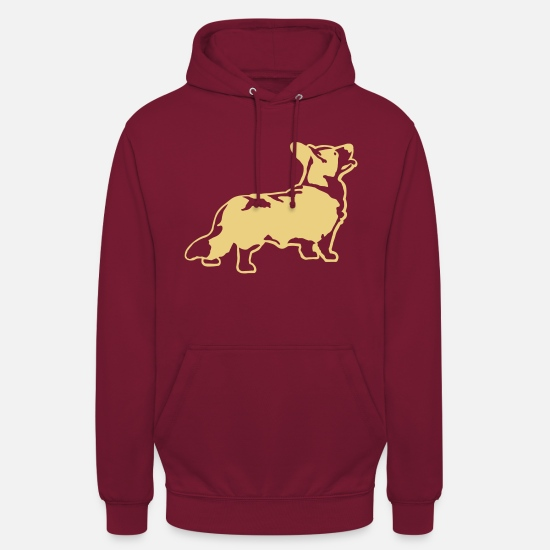 Welsh Hoodies & Sweatshirts - Welsh Corgi Cardigan - Unisex Hoodie bordeaux