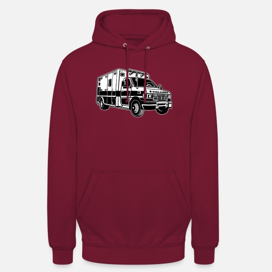 Ambulance Driver Hoodies & Sweatshirts - Ambulance / ambulance 01_black white - Unisex Hoodie bordeaux