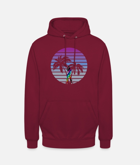Wave Hoodies & Sweatshirts - synth wave babe 80s miami style palms - Unisex Hoodie bordeaux