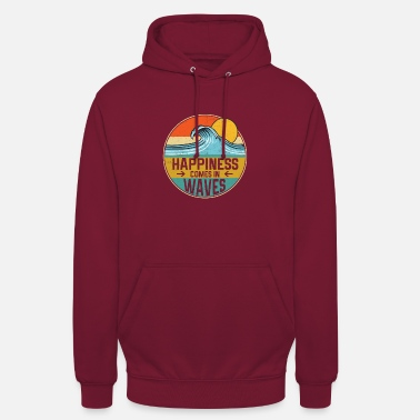 Happiness Happiness Comes In Waves Cool Vintage Surfer - Unisex Hoodie