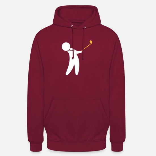 Symbol  Hoodies & Sweatshirts - A Golfer Swings His Golf Club - Unisex Hoodie bordeaux