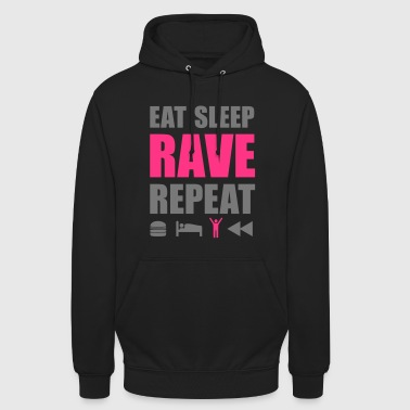 Eat Sleep Rave Repeat Clubbing Spruch Symbole - Unisex Hoodie