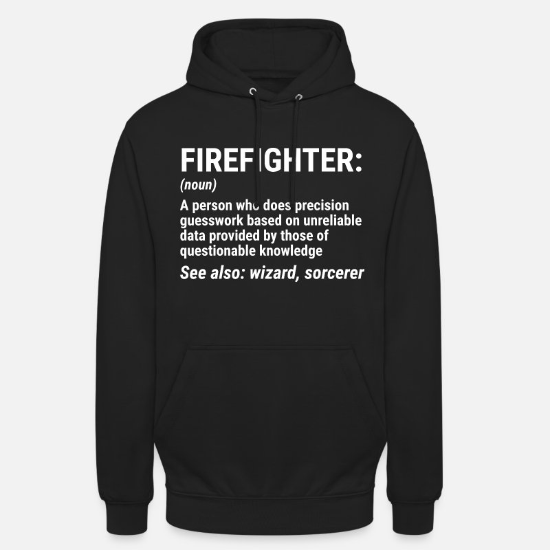 Firefighter Tröjor - Funny Firefighter Definition Wizard Present T-shirt - Hoodie unisex svart