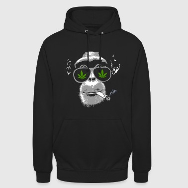 Chimpanzee with joint - Marijuana - Bluza z kapturem typu unisex