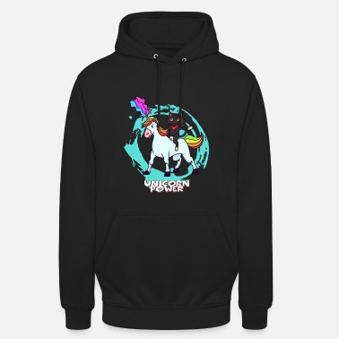 Funky Unicorn and cat - black cat - Unisex Hoodie