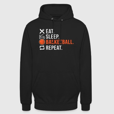 Sports Eat Sleep Basketball Repeat Icons - Felpa con cappuccio unisex