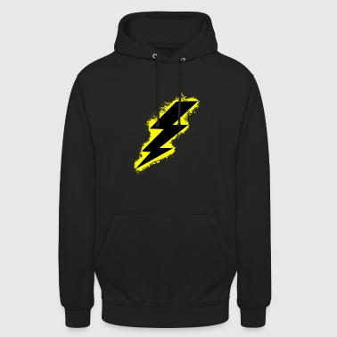 Bolt lightning yellow and black outline - Unisex Hoodie