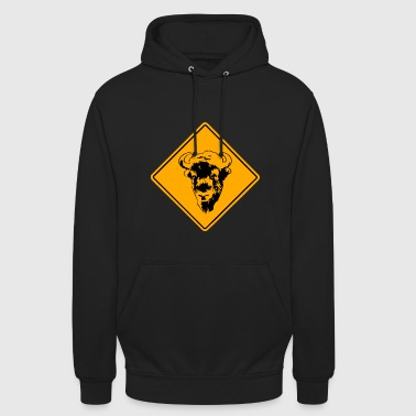 Bison Buffalo Road Sign - Unisex Hoodie