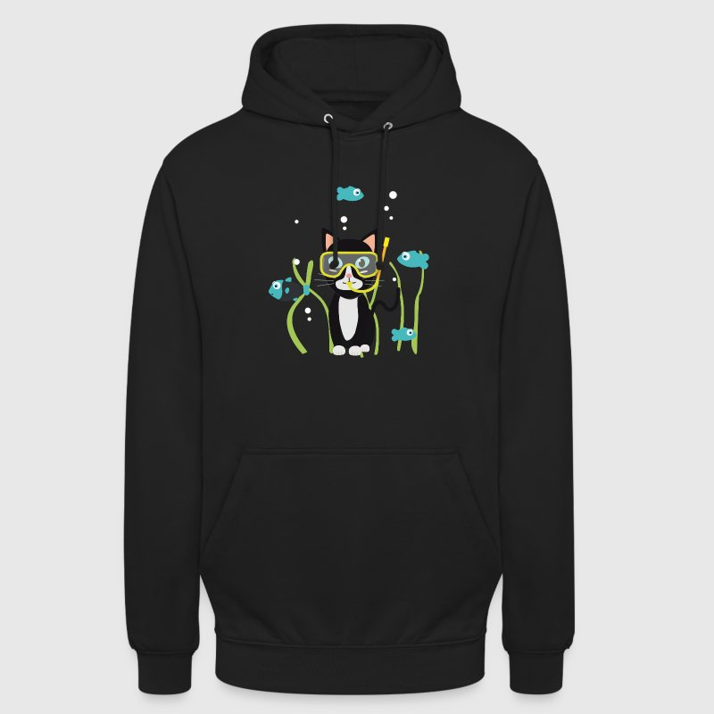 Underwater diving cat with fish - Unisex Hoodie