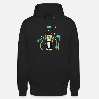Cartoon Character Underwater diving cat with fish - Unisex Hoodie