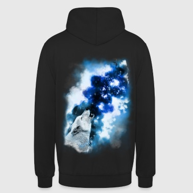 Paintery Style :Starry Wolf Night: - Unisex Hoodie
