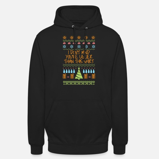 Ugly Hoodies & Sweatshirts - Ugly Christmas Christmas gift saying tree - Unisex Hoodie black
