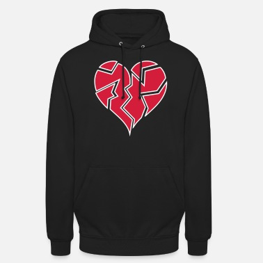 white outline heartbroken <3 - Unisex Hoodie