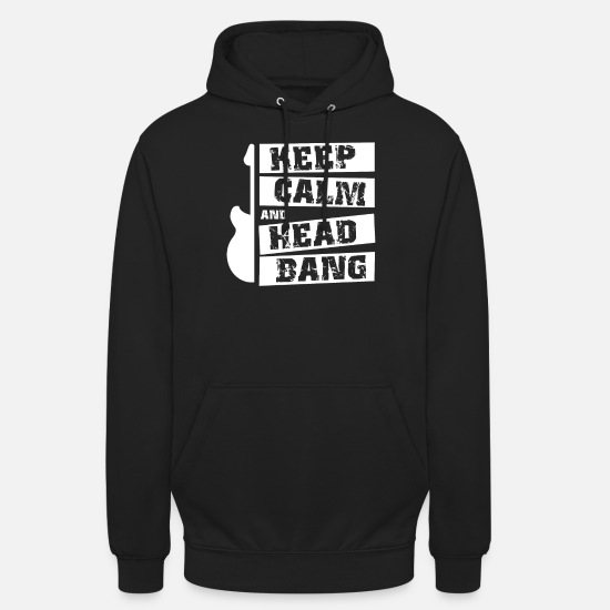 Birthday Hoodies & Sweatshirts - Headbang Rocker Metal Guitar Guitarist Music Gift - Unisex Hoodie black