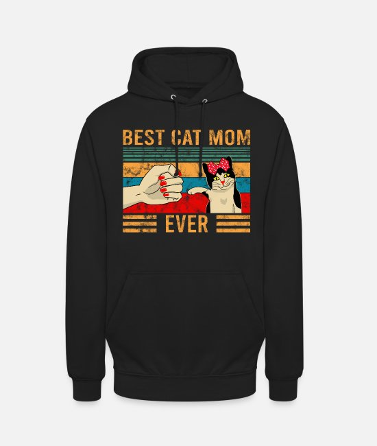 Flicka Tröjor & hoodies - Vintage Best Cat Mom Ever Bump Cat Lover Design - Hoodie unisex svart
