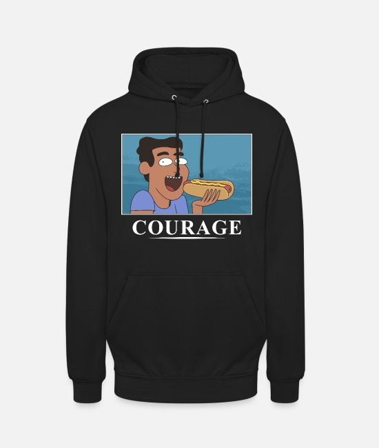 Dan Harmon Hoodies & Sweatshirts - Rick And Morty Courage Is Eating A Hot Dog - Unisex Hoodie black