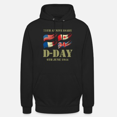 War 75 years D Day anniversary WWII World War II alliance - Unisex Hoodie