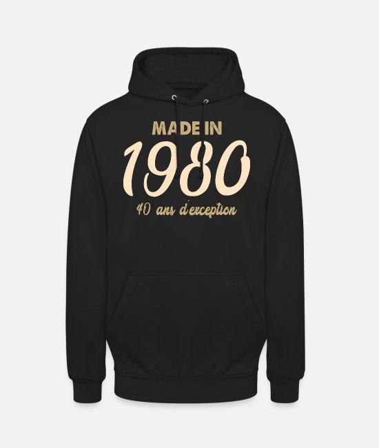 Made In 1980 Sweat-shirts - Made in 1980 40 ans d'exception - Sweat à capuche unisexe noir