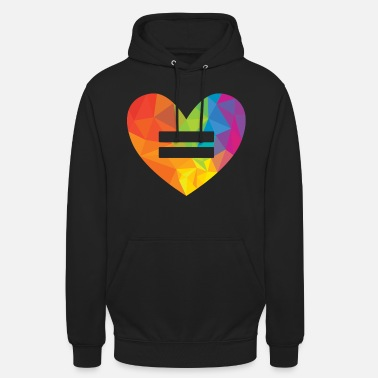 Gay Rights Rainbow Equality Heart - Unisex Hoodie