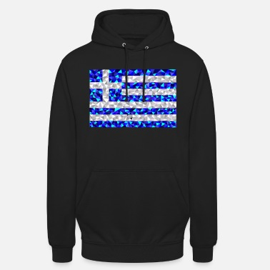 Football Greece flag low poly diamond style - Unisex Hoodie