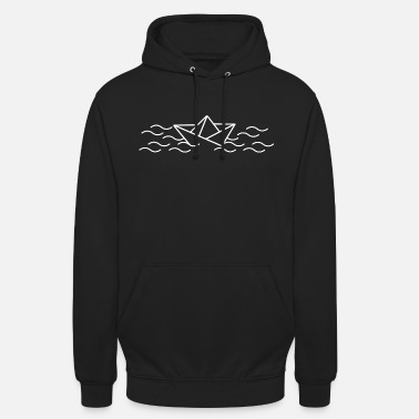 Paper ship travel the wold ahoy boat waves - Unisex Hoodie
