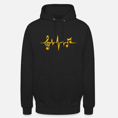 Music Music, pulse, notes, frequency, clef, bass, sheet - Unisex Hoodie