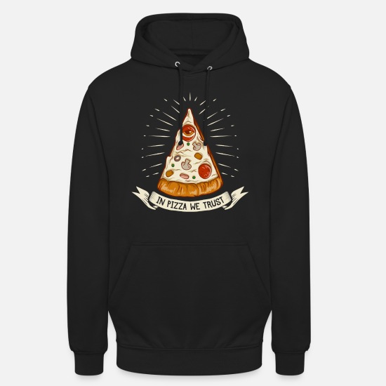 Pizza Pullover & Hoodies - In Pizza we trust - the original premium design - Unisex Hoodie Schwarz