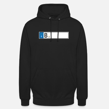 License Plate Berlin license plate blackboard car license plate - Unisex Hoodie