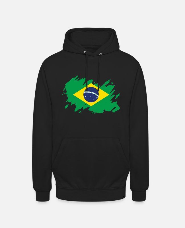South America Hoodies & Sweatshirts - Brazil flag South America splash of color - Unisex Hoodie black