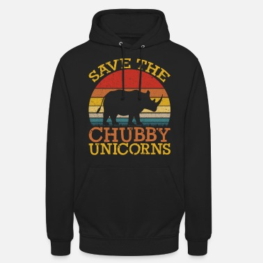 Divertente Save the Chubby Unicorns Fat Rhino Vintage - Hoodie unisex
