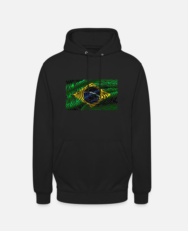 South America Hoodies & Sweatshirts - Brazil flag fingerprint finger trace land - Unisex Hoodie black