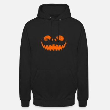 Pumpkin Halloween face sketch art gift - Unisex Hoodie