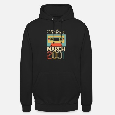 March Vintage March 2001 19th Birthday 19 Year Gift - Unisex Hoodie