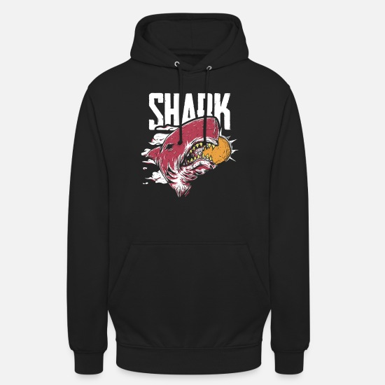 Strong Hoodies & Sweatshirts - Shark Attack | Devouring Sun | Sharp Teeth and Jaws - Unisex Hoodie black