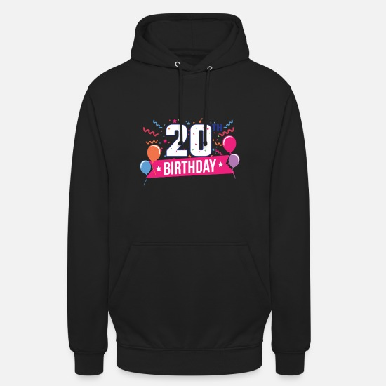 Birthday Hoodies & Sweatshirts - 20th Birthday Party Balloons Banner Gift Idea - Unisex Hoodie black