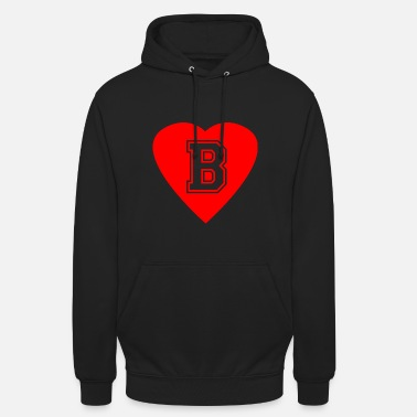 First Name Heart Letter B Name Initials First name Gift - Unisex Hoodie