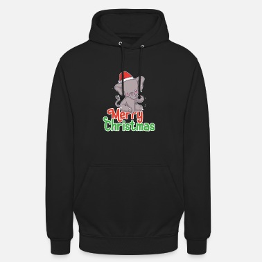 Love You Christmas Elephant Cute Santa Holiday Baby Novelty - Unisex Hoodie