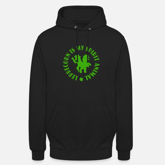 Shamrock Hoodies & Sweatshirts - Leprecorn Is My Spirit Animal Funny St Patricks - Unisex Hoodie black