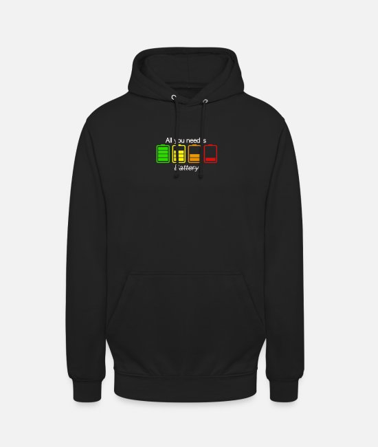 Smartphone Pullover & Hoodies - All you need is battery - Unisex Hoodie Schwarz
