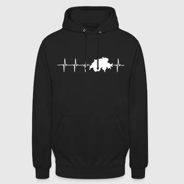 Switzerland, heartbeat design - Unisex Hoodie