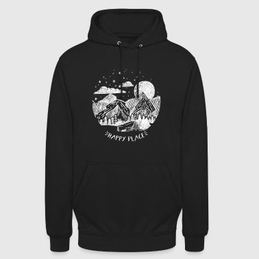 Happy Place Gift Mountain Moon Forest Star Tree - Unisex Hoodie