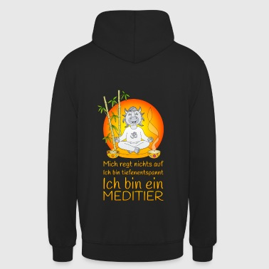 Meditating rhinoceros deeply relaxing in orange - Unisex Hoodie
