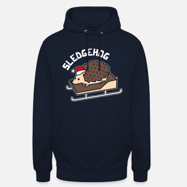 Hedgehog Sledgehog Hedgehog Xmas Christmas hedgehog pun - Unisex Hoodie