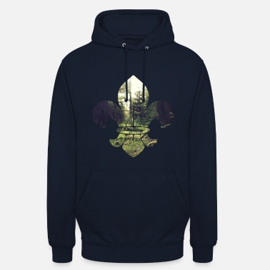 Boy Boy Scout icon with forest - Unisex Hoodie