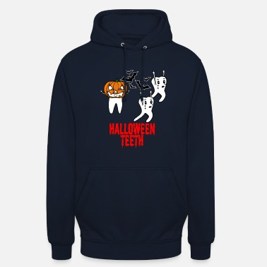 Dental Halloween tooth with pumpkin and bats - Unisex Hoodie