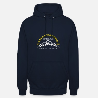 Volcano Yellowstone National Park 1872 Longitude Latitude - Unisex Hoodie