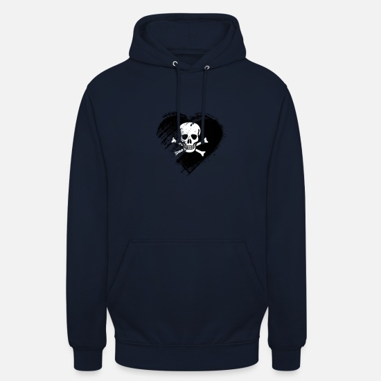 Love Hoodies & Sweatshirts - Grungy I Love Pirates Heart Flag - Unisex Hoodie navy