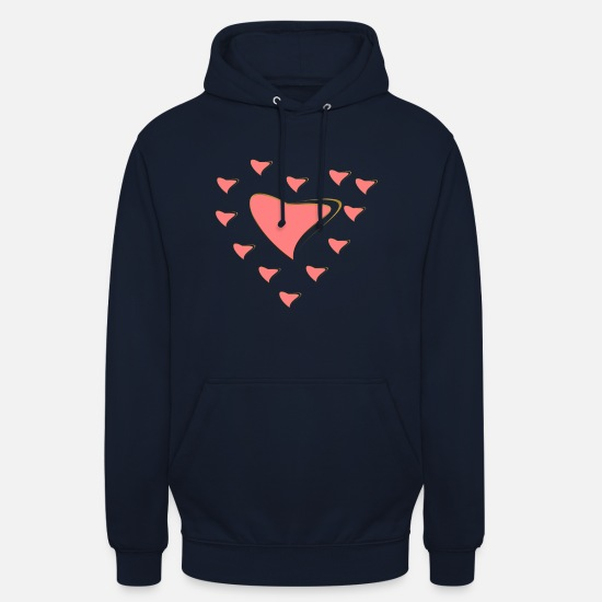 Fillette Sweat-shirts - Coeur avec jante en or - Sweat à capuche unisexe marine